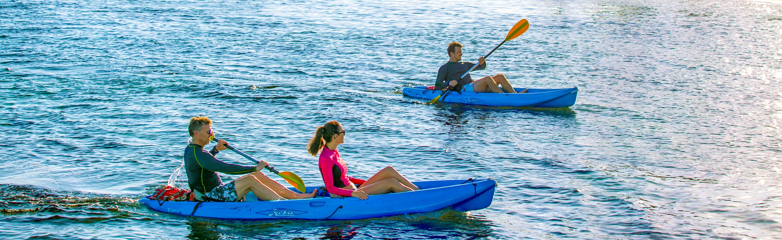 Our dive shop has kayaks for exploration of our coast in the calm waters inside the reef